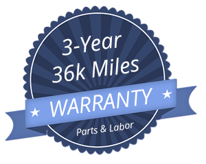 3 year 36k miles warranty on parts and labor badge blue