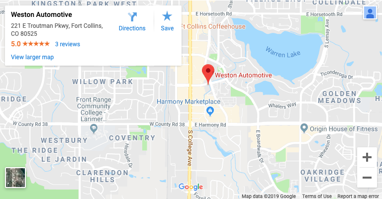 Fort Collins Complete Auto Service Weston Automotive Google Maps location screenshot